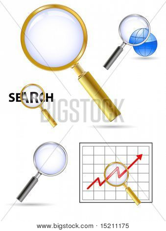 vector set of golden magnifing glass