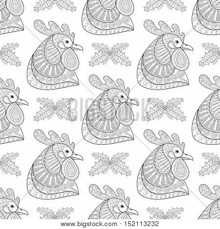 Zentangle Cartoon Rooster with Mistletoe seamless pattern. Hand drawn monochrome sketch for adult coloring pages, fabric. Vector illustration for Chinese New Year 2017 greeting cards, posters.