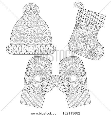 Winter knitted Sock for gift from Santa, cap, glove, mittens in zentangle style. Hand drawn Christmas decorative elements for adult coloring book. Vector illustration for New Year 2017.