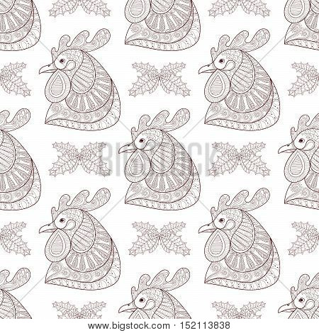 Zentangle Cartoon rooster with mistletoe seamless pattern. Hand drawn sketch for adult coloring pages, fabric. Vector illustration for Chinese New Year 2017 greeting cards, posters, background.
