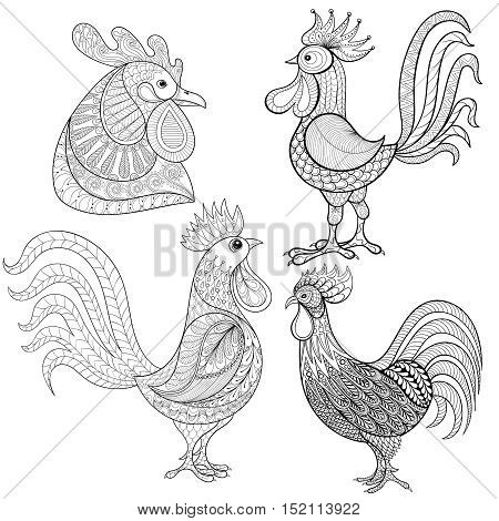 Zentangle Cartoon rooster, cock set. Hand drawn Zentangle Cartoon rooster, cock set. Hand drawn sketch for adult coloring page, t-shirt print. Hand drawn happy Xmas decorative elements. Vector illustration for New Year 2017 greeting cards, posters.