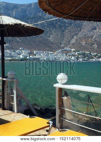 Sifnos Greece port town of Kamares on Greek Cyclades island in Mediterranean Sea