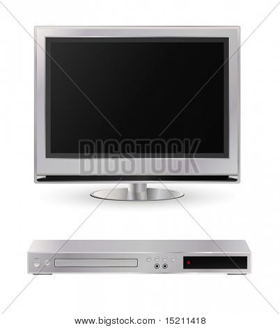 vector silver  lcd tv and dvd player isolated on white