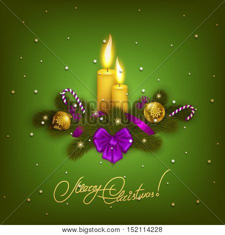 New Year's background - a garland of fir branches, candles, bow, ribbons, stars, baubles, lollipops for design greeting card, invitation. Christmas festive background. Illustration EPS10.
