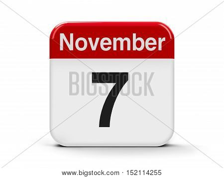 Calendar web button - The Seventh of November three-dimensional rendering 3D illustration