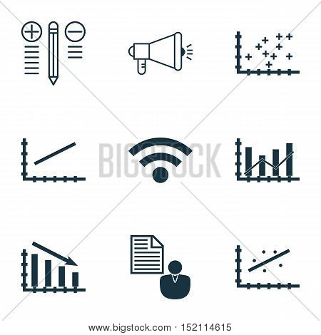 Set Of 9 Universal Editable Icons For Statistics, Seo And Computer Hardware Topics. Includes Icons S