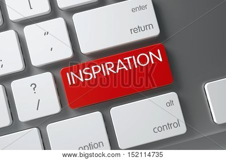 Inspiration Concept Modern Keyboard with Inspiration on Red Enter Keypad Background, Selected Focus. 3D.