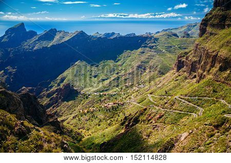 winding roads and mountains near Masca village Tenerife Canary Islands Spain