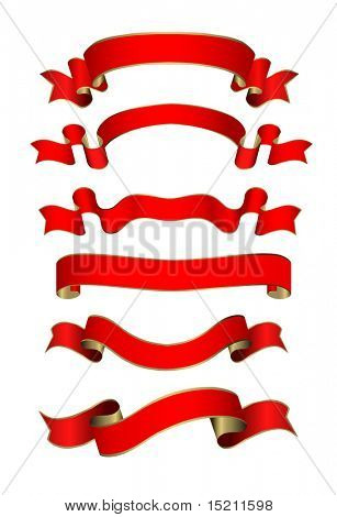 vector red-golden banners set on white