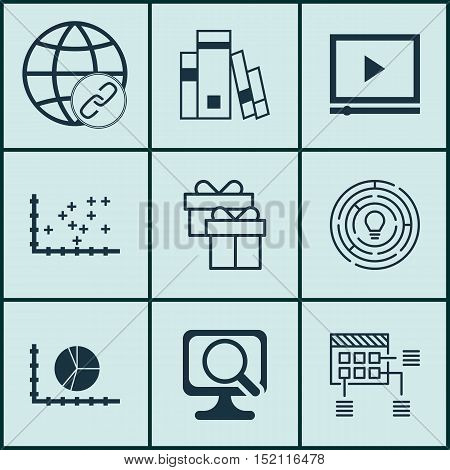 Set Of 9 Universal Editable Icons For Advertising, Marketing And Project Management Topics. Includes