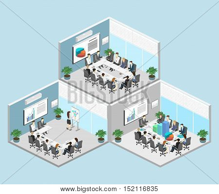Business Meeting In An Office Business Presentation Meeting In An Office Around A Table. Isometric F