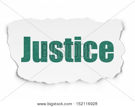 Law concept: Painted green text Justice on Torn Paper background with  Tag Cloud