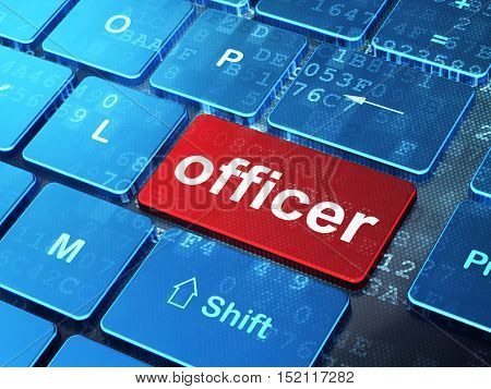 Law concept: computer keyboard with word Officer on enter button background, 3D rendering