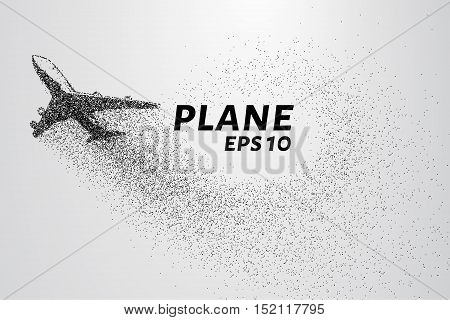 The plane of the particles. The plane climbs and the wind it rips small pieces. Vector illustration