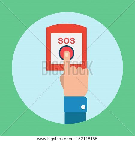 SOS button with hand vector illustration in flat style. Finger presses the red button SOS. The concept of a request, call for help, fire button.