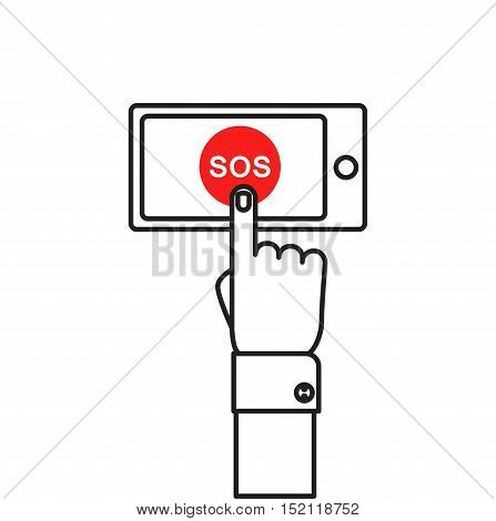 SOS button with hand vector illustration in flat style. Finger presses the red button SOS on the smartphone. The concept of a request, call for help.