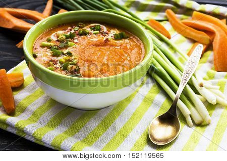 Carrot Puree Soup With Sour Cream And Green Onion
