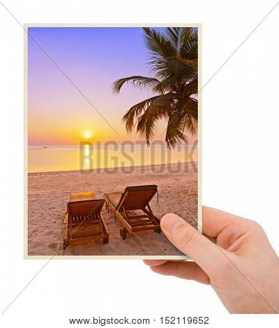 Hand and Maldives beach image (my photo) isolated on white background