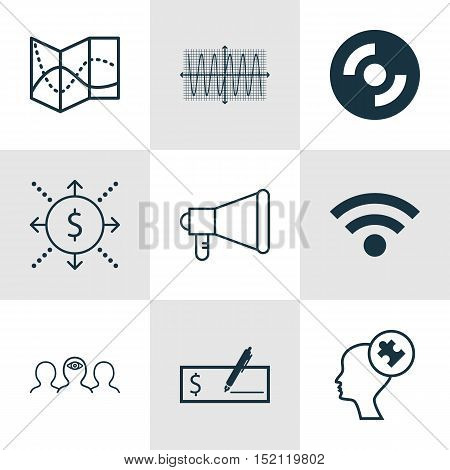 Set Of 9 Universal Editable Icons For Computer Hardware, Statistics And Project Management Topics. I