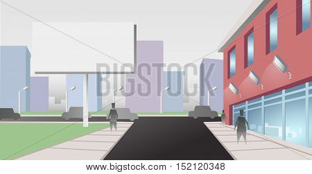 Billboard on City Street. Vector illustration with simple shapes and colors
