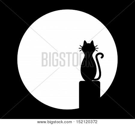 Cat sitting on chimney and looks at the moon. Vector black and white illustration