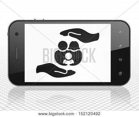 Insurance concept: Smartphone with black Family And Palm icon on display, 3D rendering