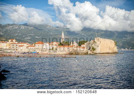landscape with old stronghold of Budva, Montenegro