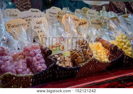 Caramel Candies At The Christmas Market