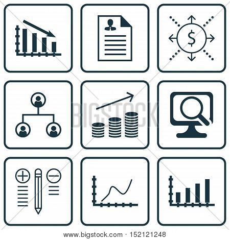 Set Of 9 Universal Editable Icons For Computer Hardware, Human Resources And Project Management Topi