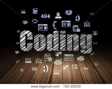 Software concept: Glowing text Coding,  Hand Drawn Programming Icons in grunge dark room with Wooden Floor, black background