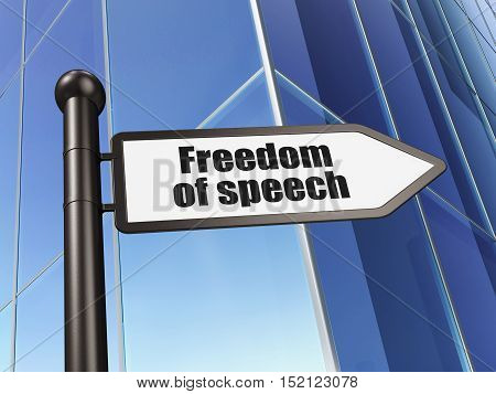 Political concept: sign Freedom Of Speech on Building background, 3D rendering