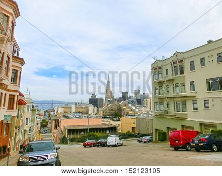 San Francisco, California, United States of America - May 04, 2016: San Francisco Cityscape with Downtown Skyscrapers in a Distance. San Francisco, California, USA. San Francisco