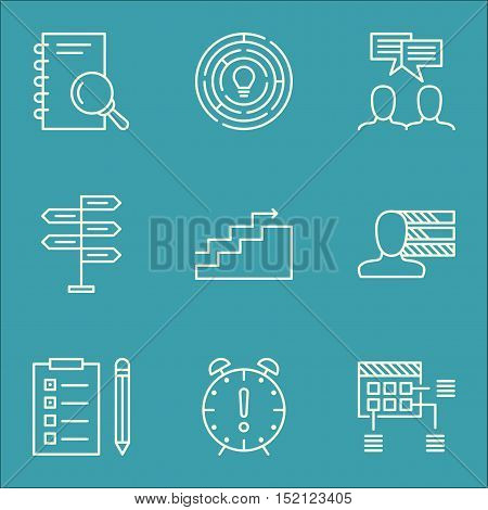 Set Of Project Management Icons On Reminder, Analysis And Personal Skills Topics. Editable Vector Il