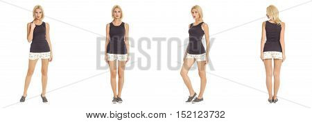 Full-length Portrait Young Sexy Woman In White Mini Shorts Isolated