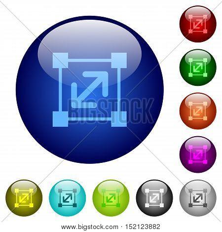 Set of color resize element glass web buttons.