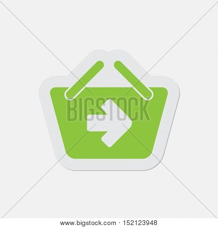 simple green icon with light gray contour and shadow - shopping basket next on a white background