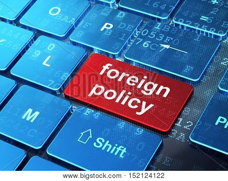 Politics concept: computer keyboard with word Foreign Policy on enter button background, 3D rendering