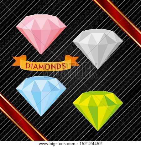 a set ofdifferent color of precious beautiful diamonds