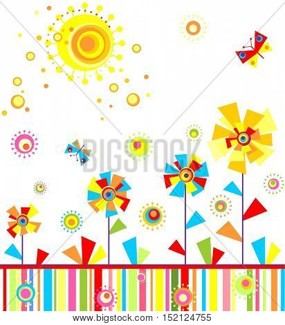 Funny childish seamless applique with abstract paper flowers