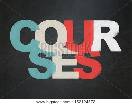 Learning concept: Painted multicolor text Courses on School board background, School Board