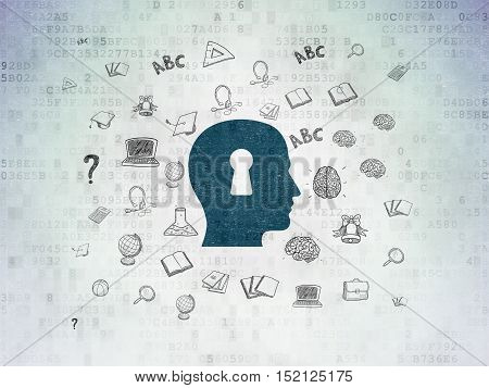 Studying concept: Painted blue Head With Keyhole icon on Digital Data Paper background with  Hand Drawn Education Icons