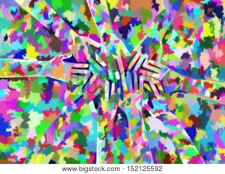 A digitally designed abstract background made up of colorful shapes with reaching hands hidden amongst the pattern.