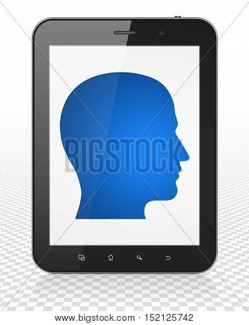 Learning concept: Tablet Pc Computer with blue Head icon on display, 3D rendering