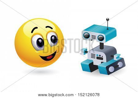Boy playing with robot toy. Baby world. Smiley kid playing with his favorite high tech toy. Vector illustration.