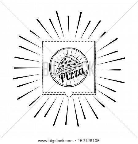 Pizza Box. A Slice Of Pizza. Label Pizzeria. Design Elements Vector Illustration