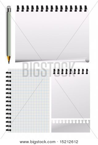 vector notepad paper with pencil