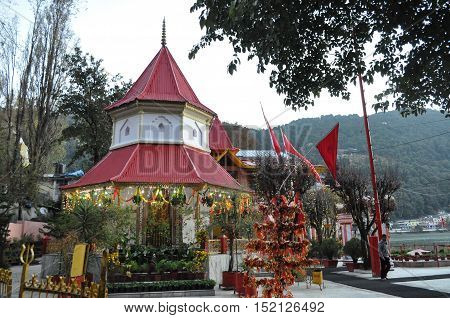November 11, 2015: Naina Devi Temple early in the morning devoted to Naina Devi situated right on Naini Lake at Nainital, Uttarakhand, India. Nainital is a popular hill station in Uttarakhand, named after the Goddess Naina Devi. It also known as the 'Gate