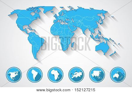 World map in blue colors with shadow and set of continent icons