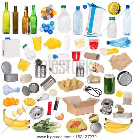 Samples of trash that can be recycled isolated on white background