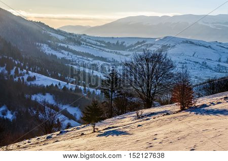Rural Area In Mountains At Sunrise